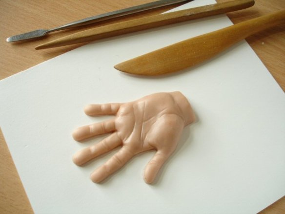 Sculpey hand modelling
