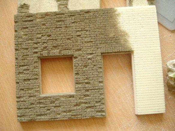 superficies con foamboard Basecoating-brickwork