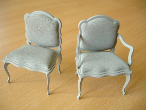 assembled chairs with primed surface