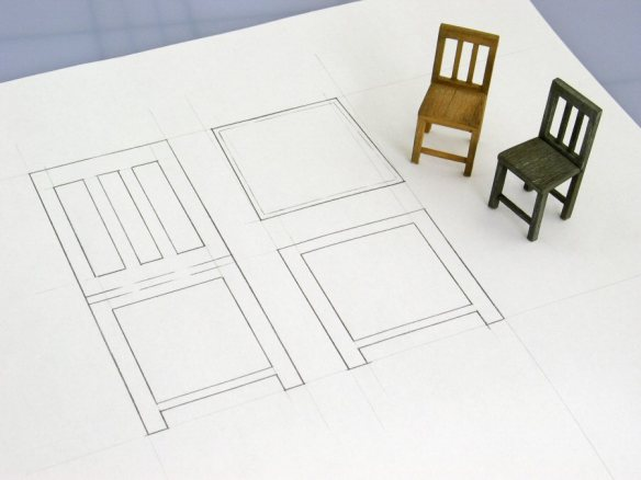 model chairs with drawing