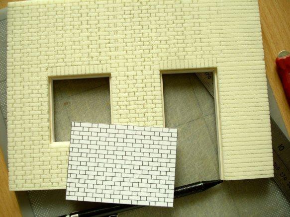 scoring brickwork lines in foam