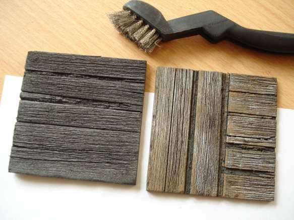 old wood with wire brush