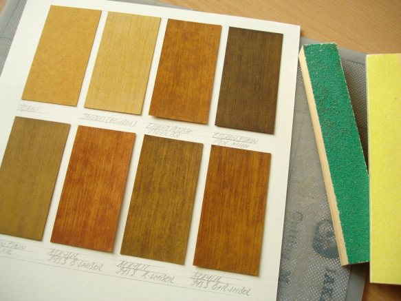stencil card wood-effect samples
