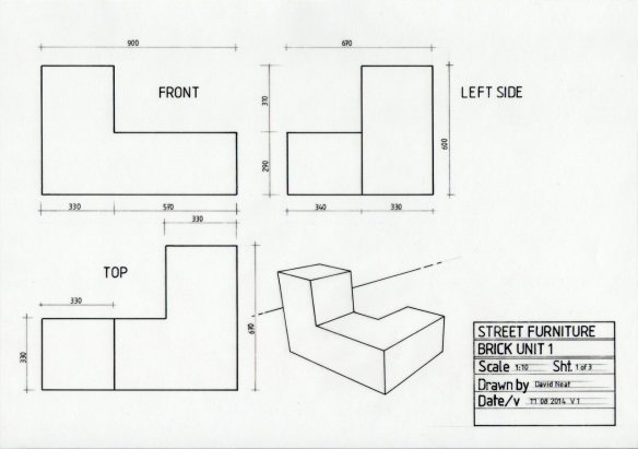 basic orthographic drawing with measurement info