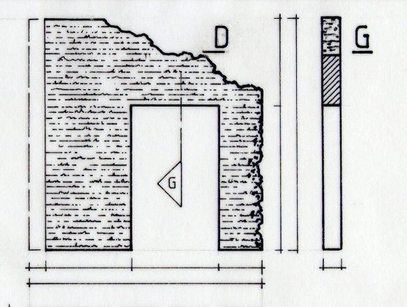 detail of technical drawing showing a section view