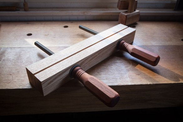 hand-made wooden vise