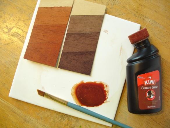Applying liquid shoe polish as a stain