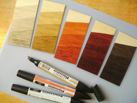 Letraset ProMarkers used as wood stains