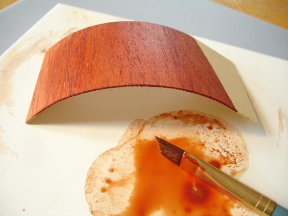 thin sheet obeche warping with water-based polish