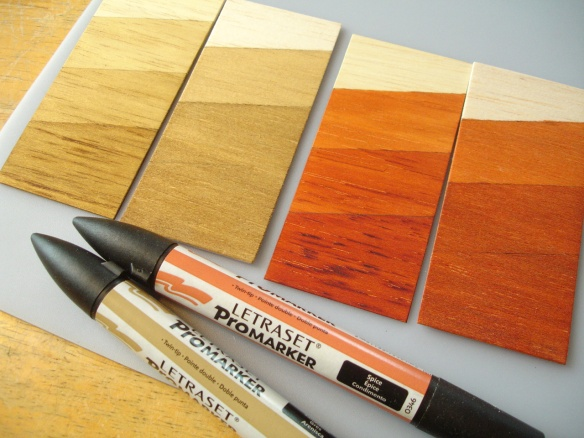Staining wood with Letraset ProMarkers. Difference between obeche and balsa