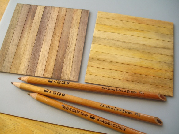 Staining wood by rubbing with coloured pencils and dissolving pigment with white spirit