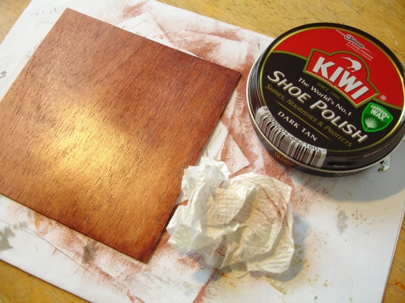 Staining and polishing wood with standard shoe polish
