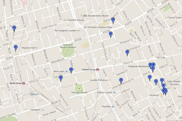 Locations of Central London fabric shops