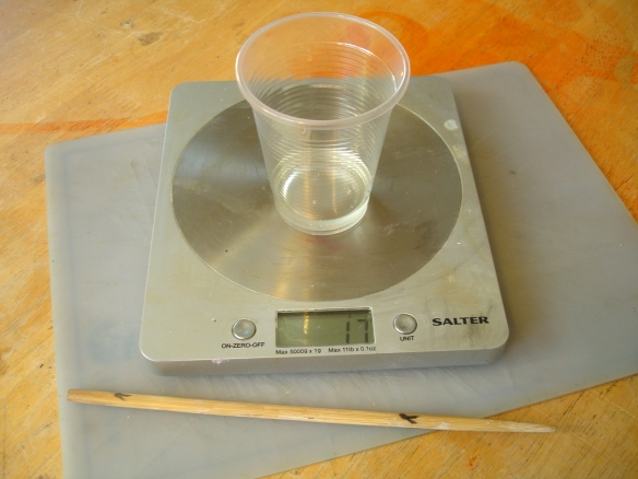 part 'A' polyurethane foam being weighed