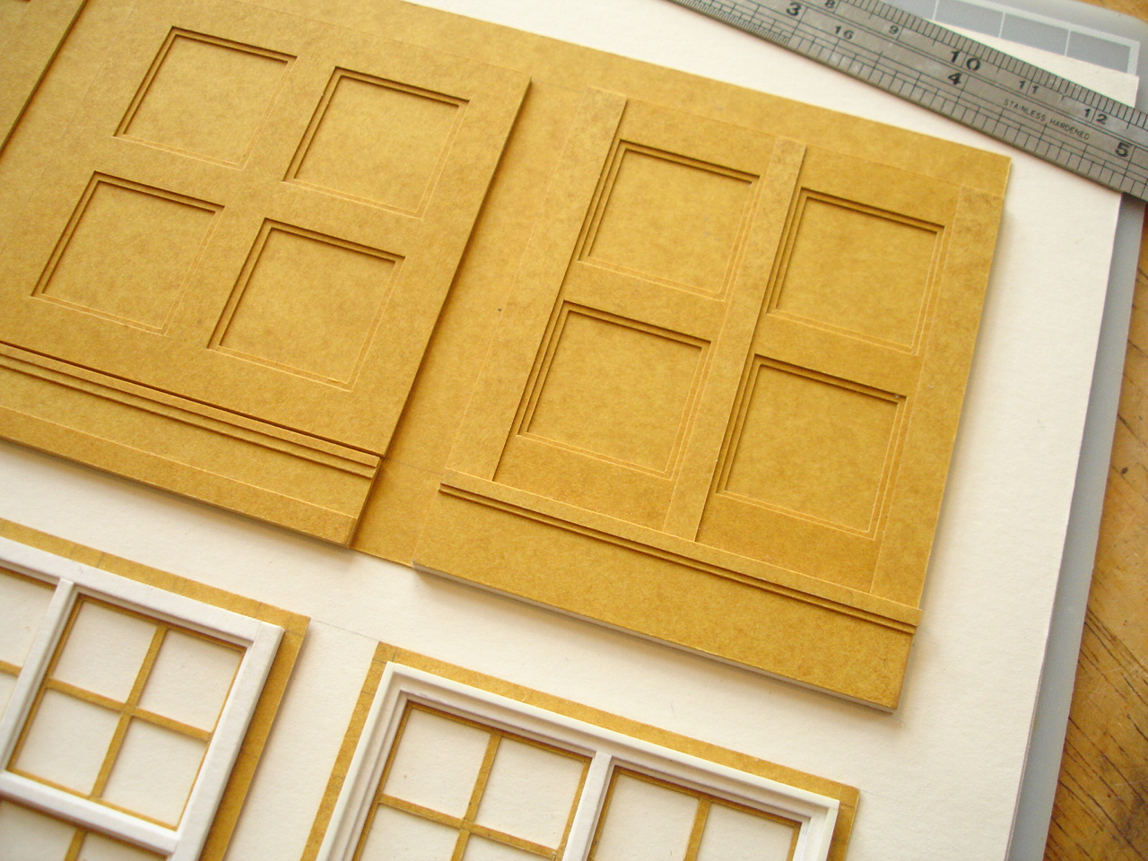 using stencil card for wall panelling and windows