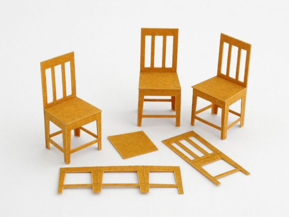 1:25 scale chairs in folded stencil card