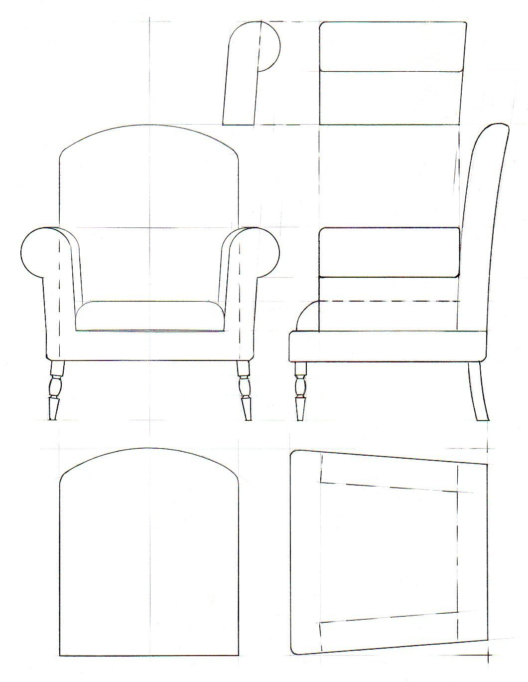 Line Art Dollhouse : Template drawings for furniture model making davidneat