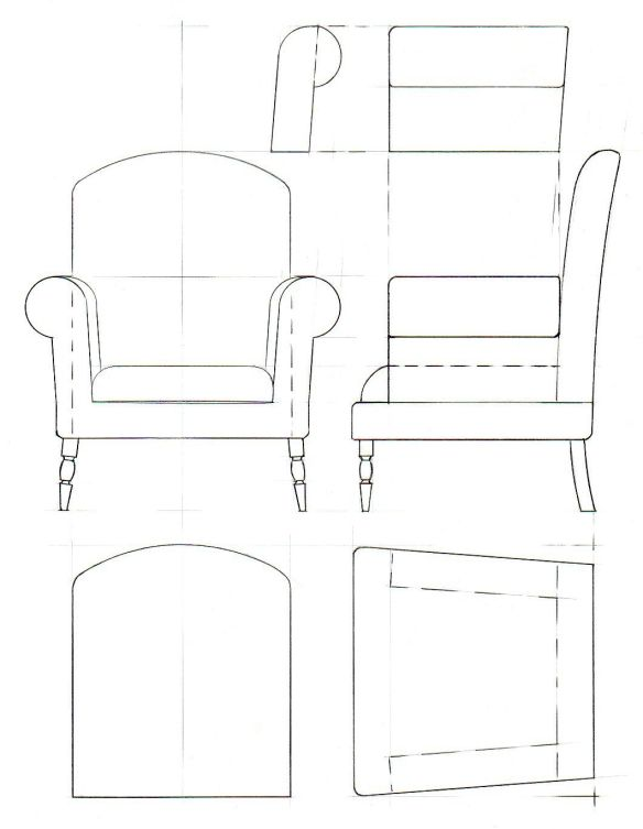 Drawing of a basic traditional style armchair 1:10 scale