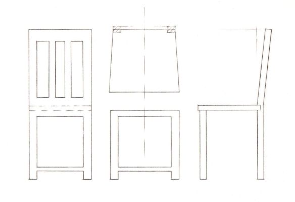 1:10 scale drawing of basic wooden chair of average dimensions