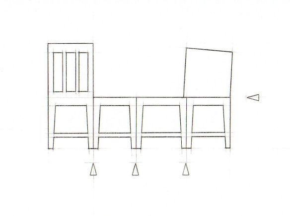 Template for making 1:25 scale folded chair in stencil card
