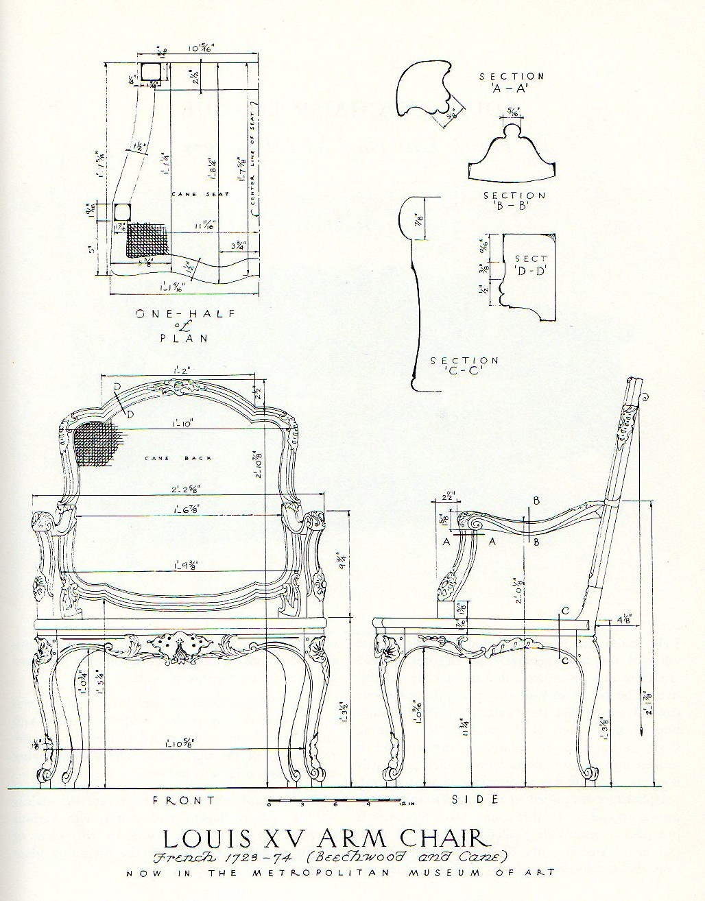 Rococo furniture sketch - Measured Drawing Of Rococo Chair From Salomonsky Masterpieces Of Furniture