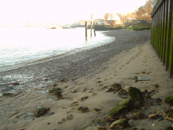 Wood Wharf steps Greenwich 4 hrs after low tide