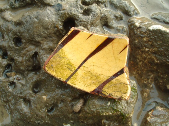 Small piece of 18thC English slipware, Thames Foreshore, Greenwich Peninsula