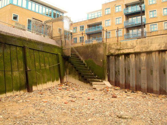Trinity Wharf Stairs, Thames Foreshore, Surrey Docks