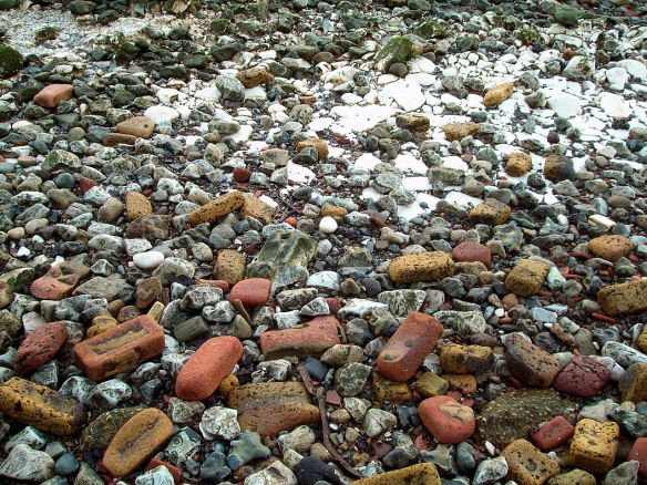 Brick, flint and chalk, Thames Foreshore Rotherhithe