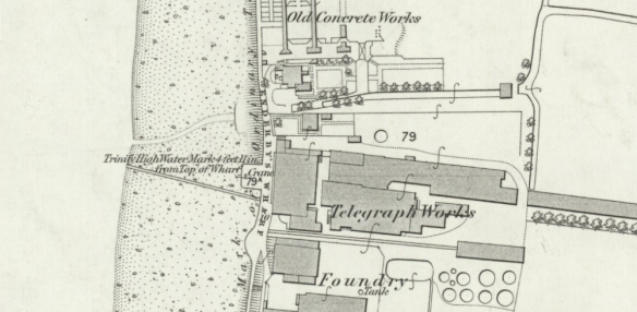 detail showing Enderby's Wharf in late 1860s from OS 25inch:1mile First Editions 1850s
