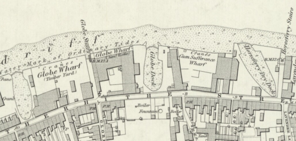 Thames Forehore, Globe Stairs area in the 1860s