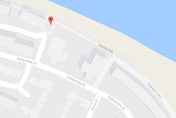 Location of Pageant Stairs (Google Maps), Thames Foreshore