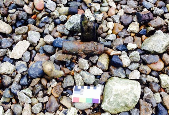 Unexploded grenade, Thames Foreshore, Bankside