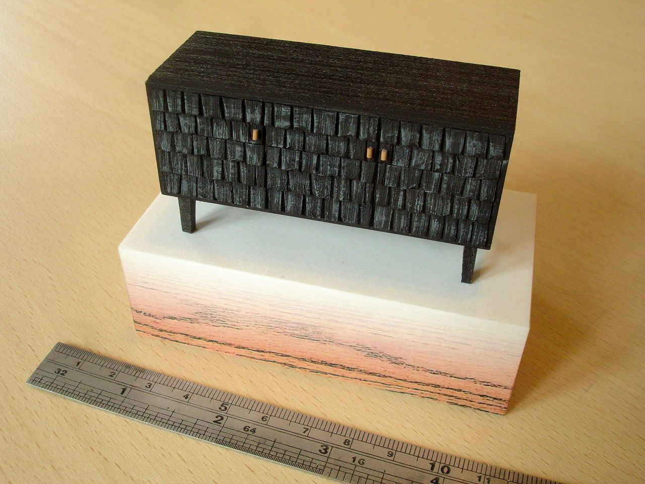 Sebastian Cox 'Scorched Shake Sideboard', model by David Neat