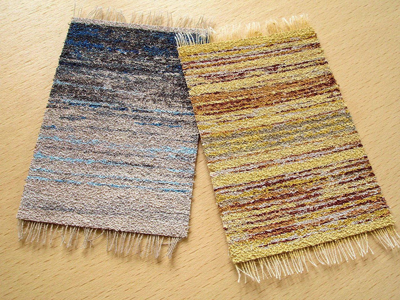 Bristol Weaving Mill, Rag Rugs ('Blue Ombre' and 'Yellow & grey'), models by David Neat
