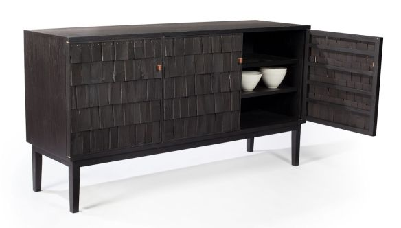 Sebastian Cox 'Scorched Shake Sideboard', courtesy The New Craftsmen and Gareth Hacker Photography