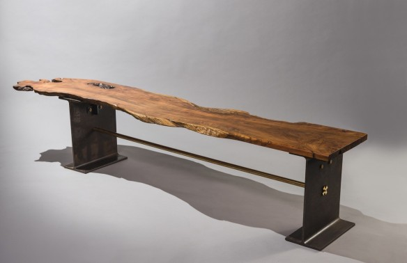 Heino Schmitt 'Be Seated', olive wood, brass and steel. Courtesy of Southern Guild