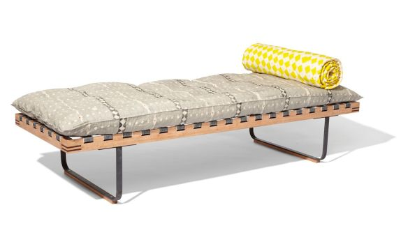 William Waterhouse & Louisa Loakes 'Cherry Day bed', cherry wood and steel, hand-printed fabric. Courtesy of The New Craftsmen
