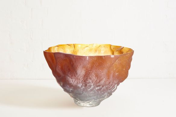Edmond Byrne 'Glass Bowl in amber', courtesy of The New Craftsmen