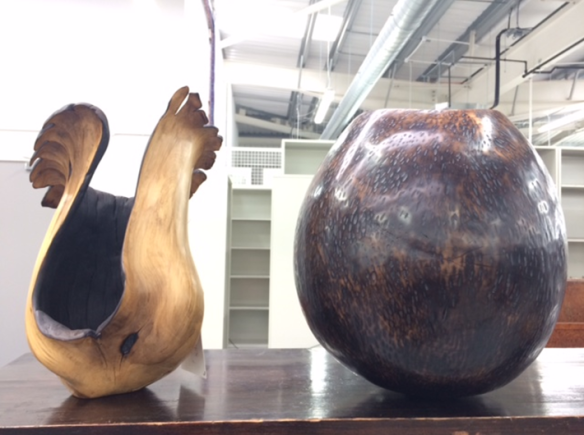 Nic Webb 'Lost Vessel' and 'Moon Jar', boxwood and sycamore, courtesy of The New Craftsmen