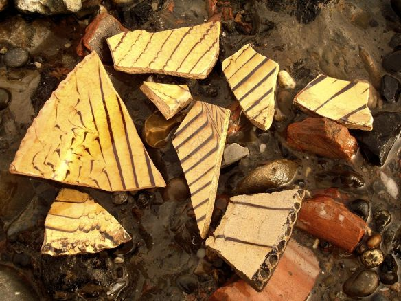 David Neat, Thames Foreshore, combed slipware sherds Greenwich November 2016