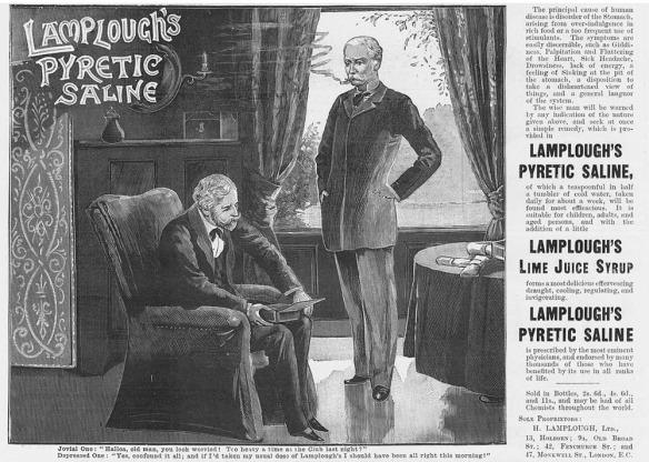 Advertisement for 'Lamplough's Effervescing Pyretic Saline' c. 1895