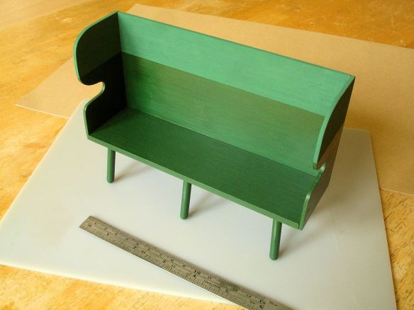 David Neat, 1:10 scale model of painted settle, designed by Sue Skeen for The New Craftsmen