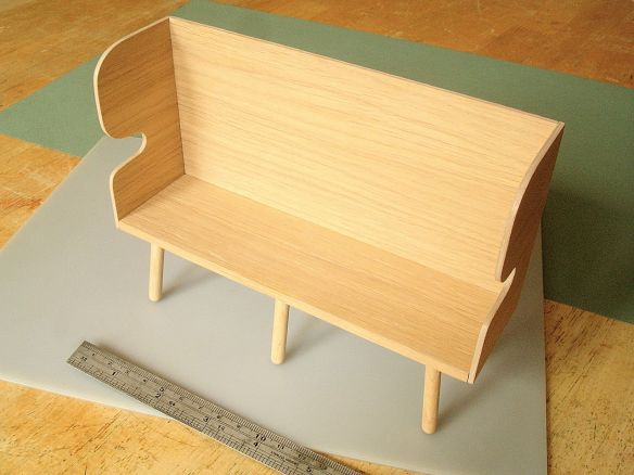 David Neat, 1:10 scale model of oak settle, designed by Sue Skeen for The New Craftsmen