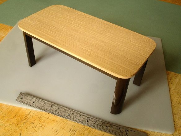 David Neat, 1:10 scale model of 'Trunk' table with oak top, Inglis Hall and Sue Skeen