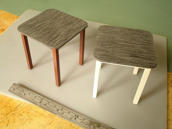 David Neat, 1:10 scale models of 'Stick' tables, Inglis Hall and Sue Skeen