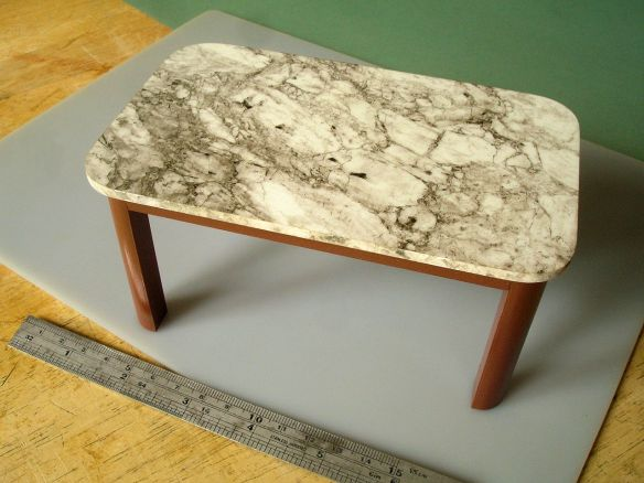David Neat, 1:10 scale model, marble table, designed by Sue Skeen and The New Craftsmen
