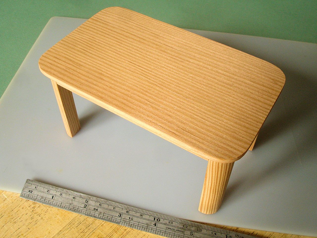 David Neat, 1:10 scale model of Douglas fir (Oregon pine) table, designed by Sue Skeen for The New Craftsmen