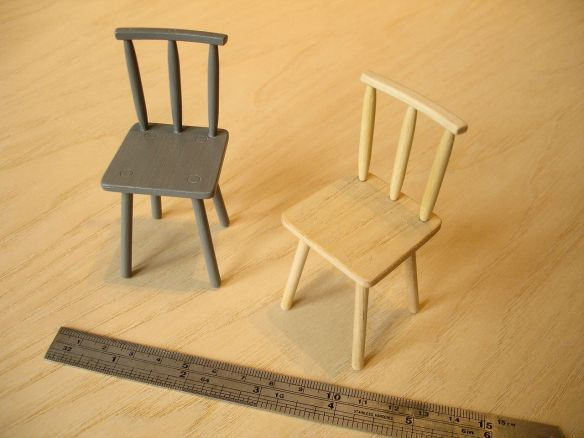 David Neat, 1:10 scale models of 'Peggy' chairs, designed by Sue Skeen for The New Craftsmen