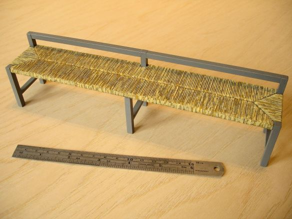 David Neat, 1:10 scale model of bench with rushwork seat, designed by Sue Skeen and The New Craftsmen